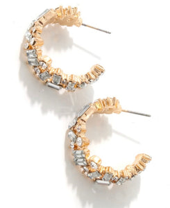 mixed crystal hoops in gold