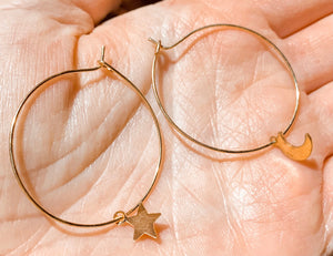Moon + Star Hoops
