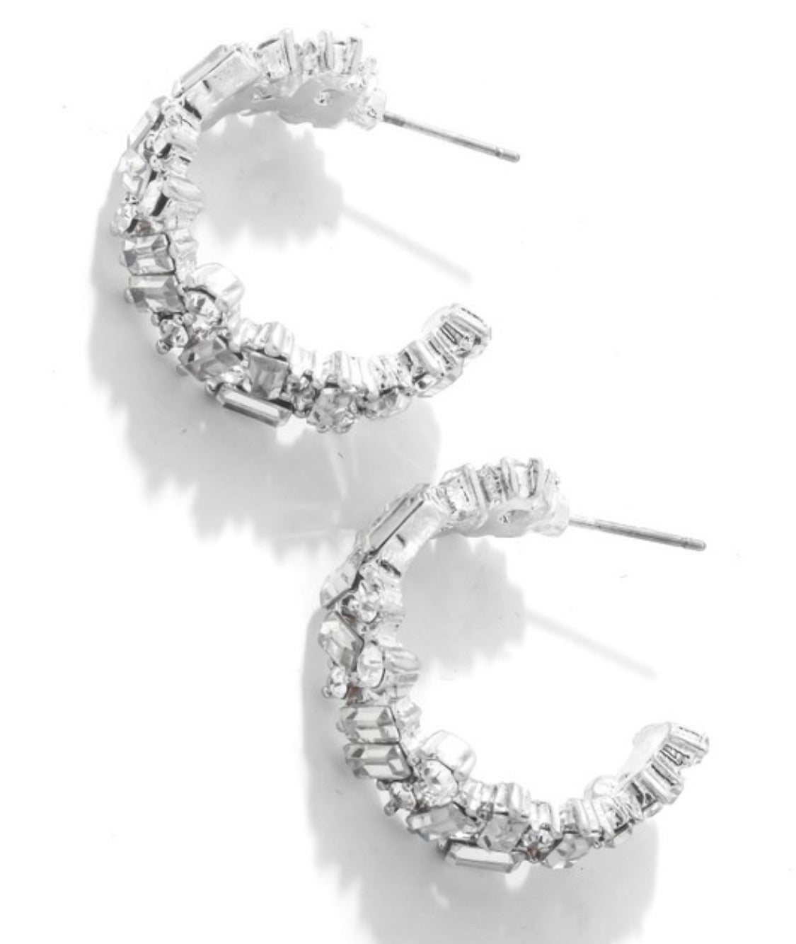 mixed crystal hoops in silver