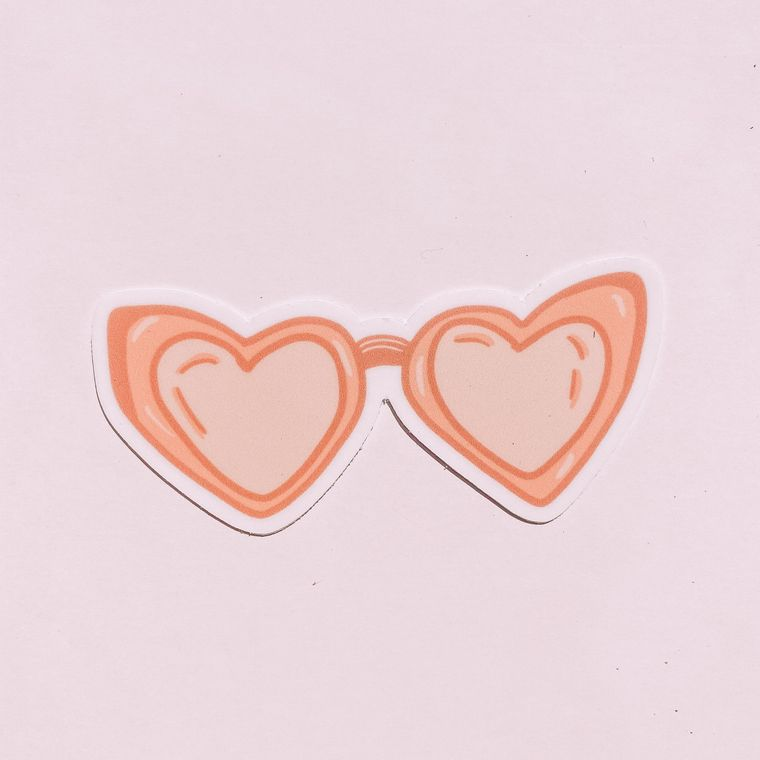 Pink Heart Sunglasses Sticker