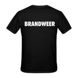 Firefighters 2-man mask borst + brandweer op rug T-shirt