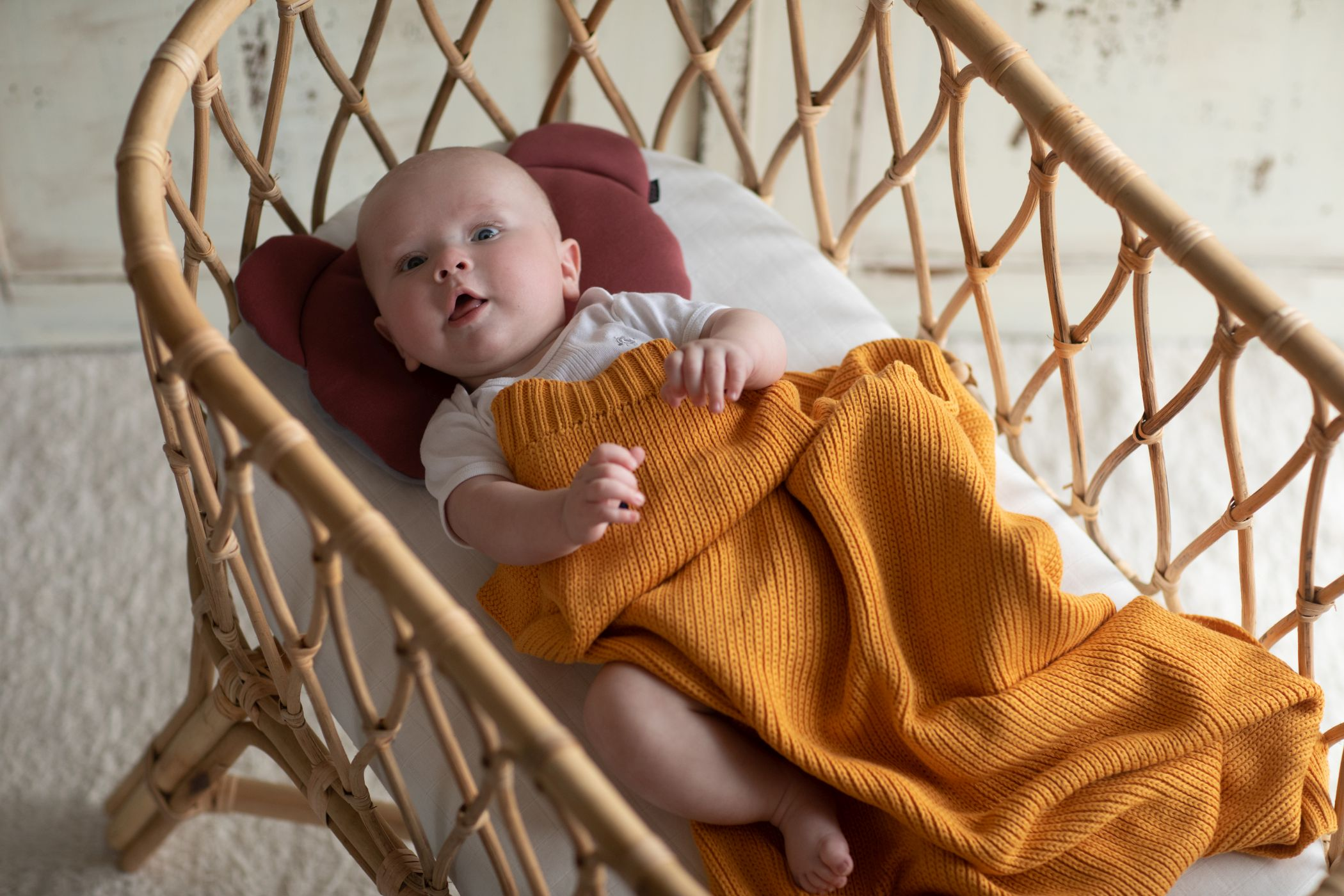 Organic Knitted Honeycomb Blanket Honey - MyLullaby