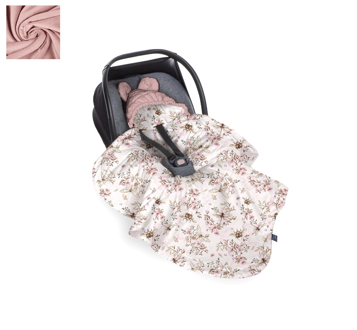 BabySteps Car Seat Blanket (Cherry Light/Sepia Rose)
