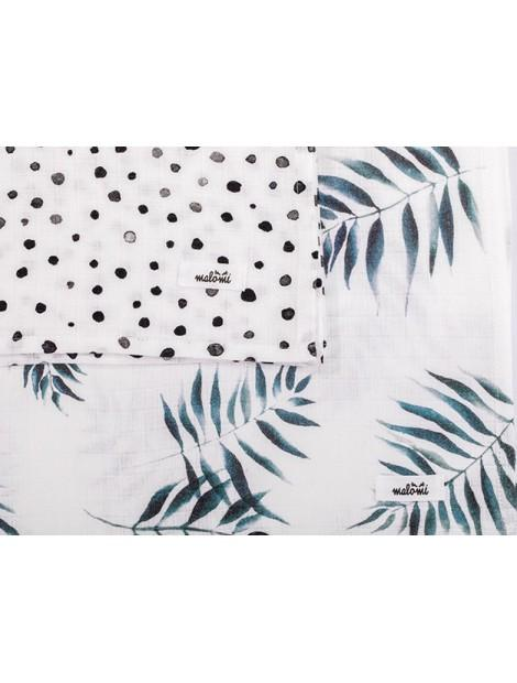 Bamboo Cotton Muslin Squares Dots & Palms - MyLullaby