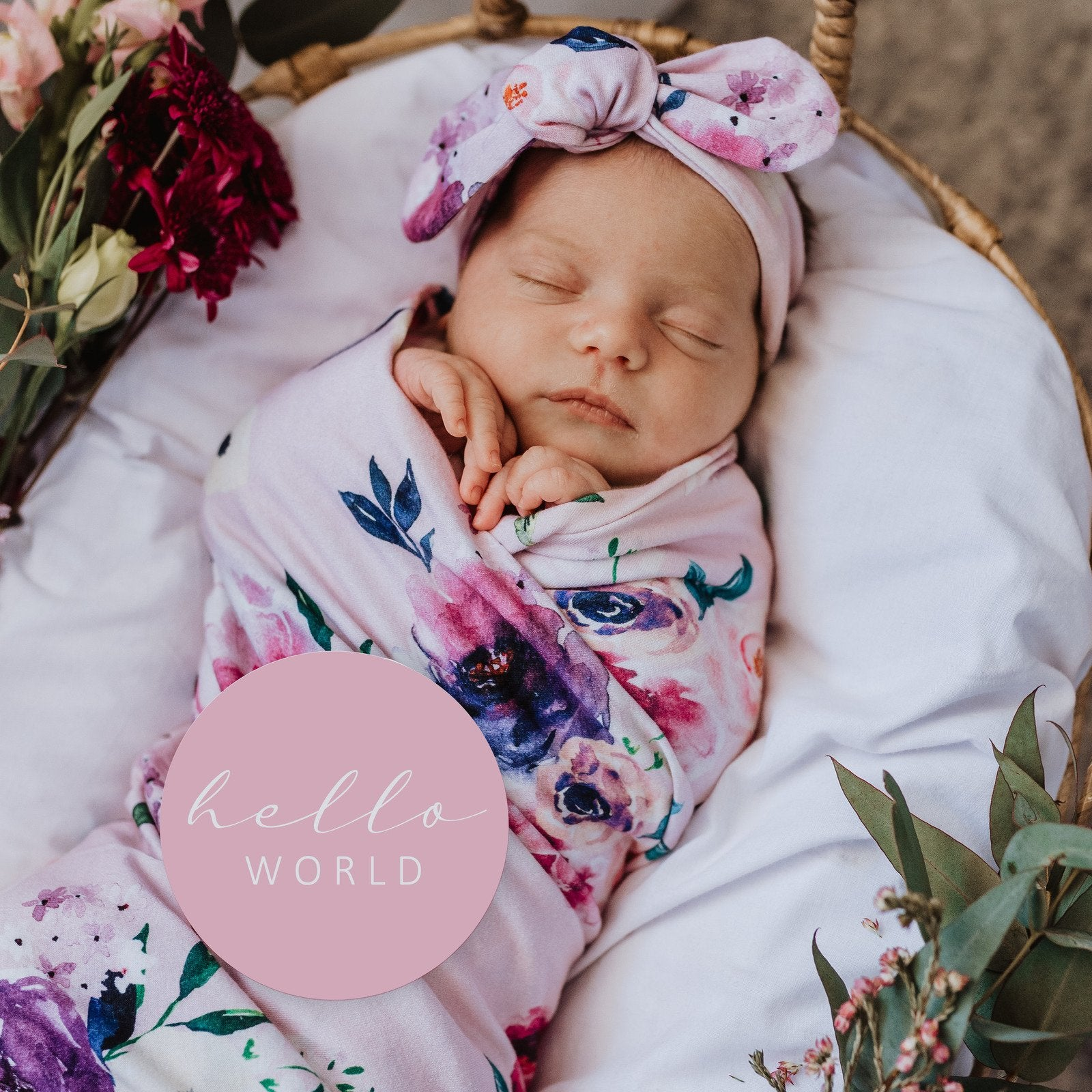 Jersey Cotton Swaddle Blanket and Headband Baby Set Floral Kiss - MyLullaby