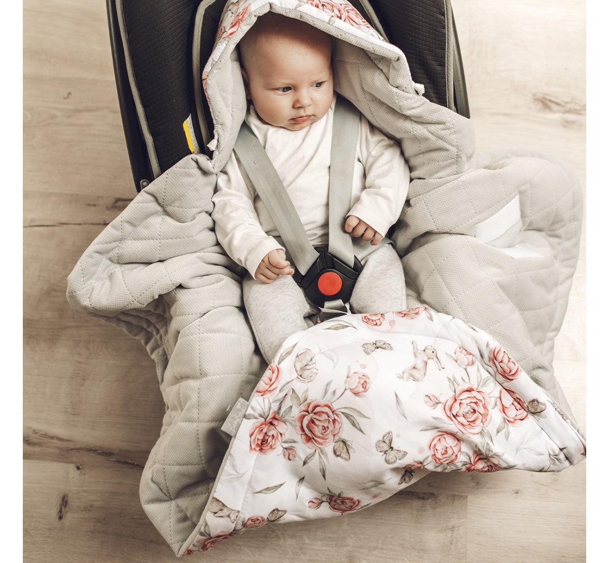 BabySteps Car Seat Blanket (Peony/Pink)