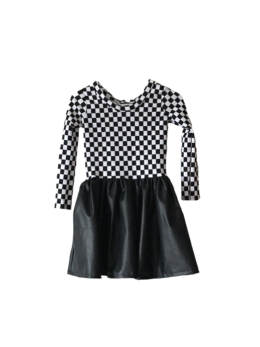 Girls Checkered Faux Leather Flare Dress