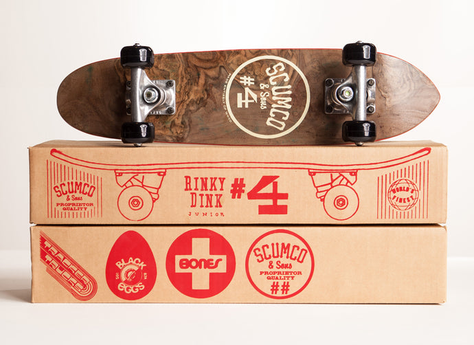 Scumco & Sons Rinky Dink Jr. Complete Skateboard, Skateboard and Package