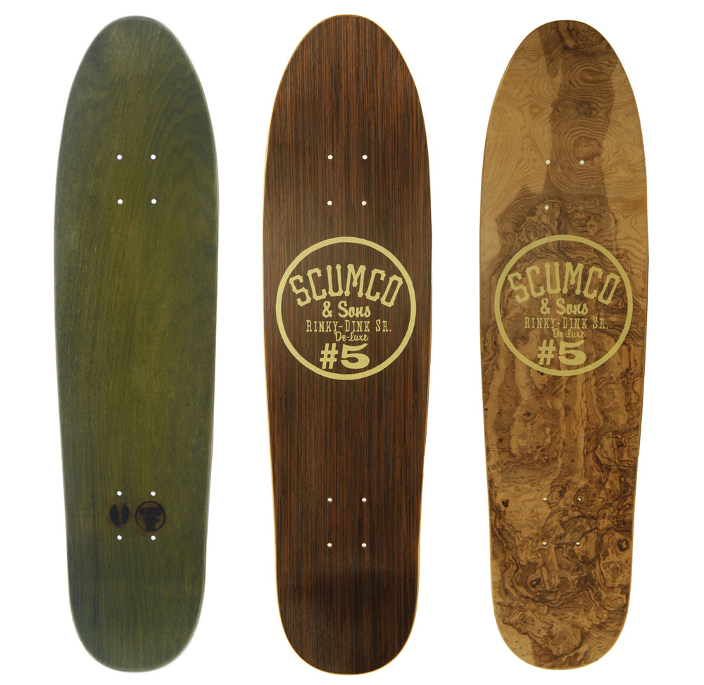 Scumco & Sons Rinky Dink Sr Skateboard Deck, 3 different Hardwoods shown