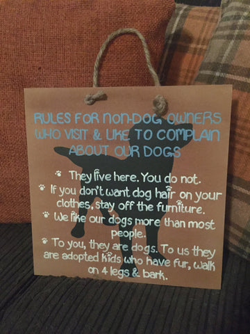 "Hounds & Co. - Square Sign - ""Rules For Non Dog Owners"""