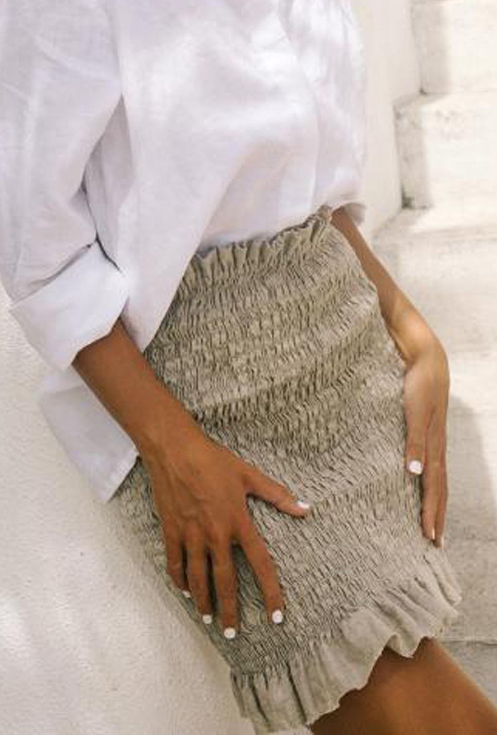 LJC Designs Pippa Shirred Skirt in Natural