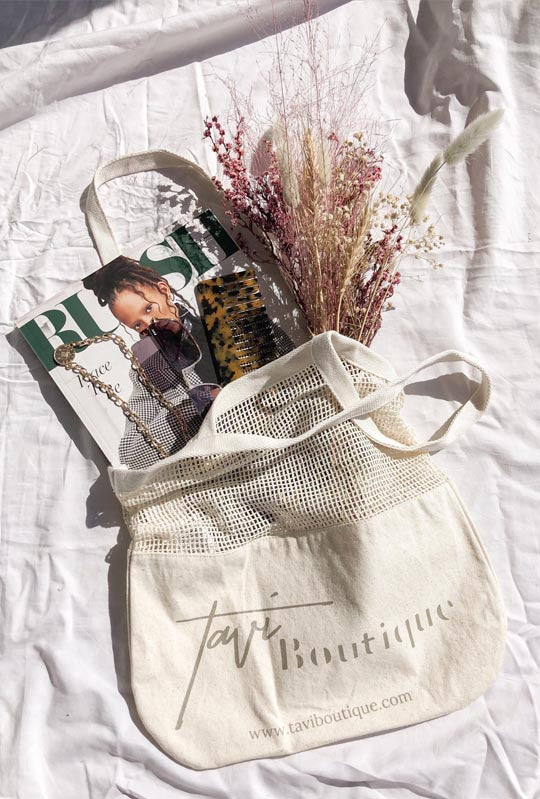 Cotton Mesh Shopping Tote Bag