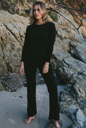 Ribbed Knit Luka Flared Pant in Black Summi Summi