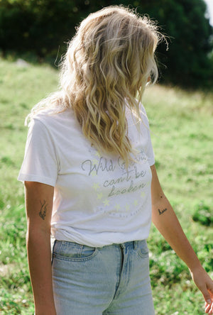 Organic Bamboo Graphic Tee Top in White