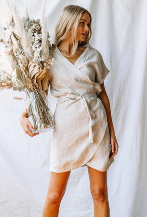 LJC Designs Kimono Wrap Dress in Sand