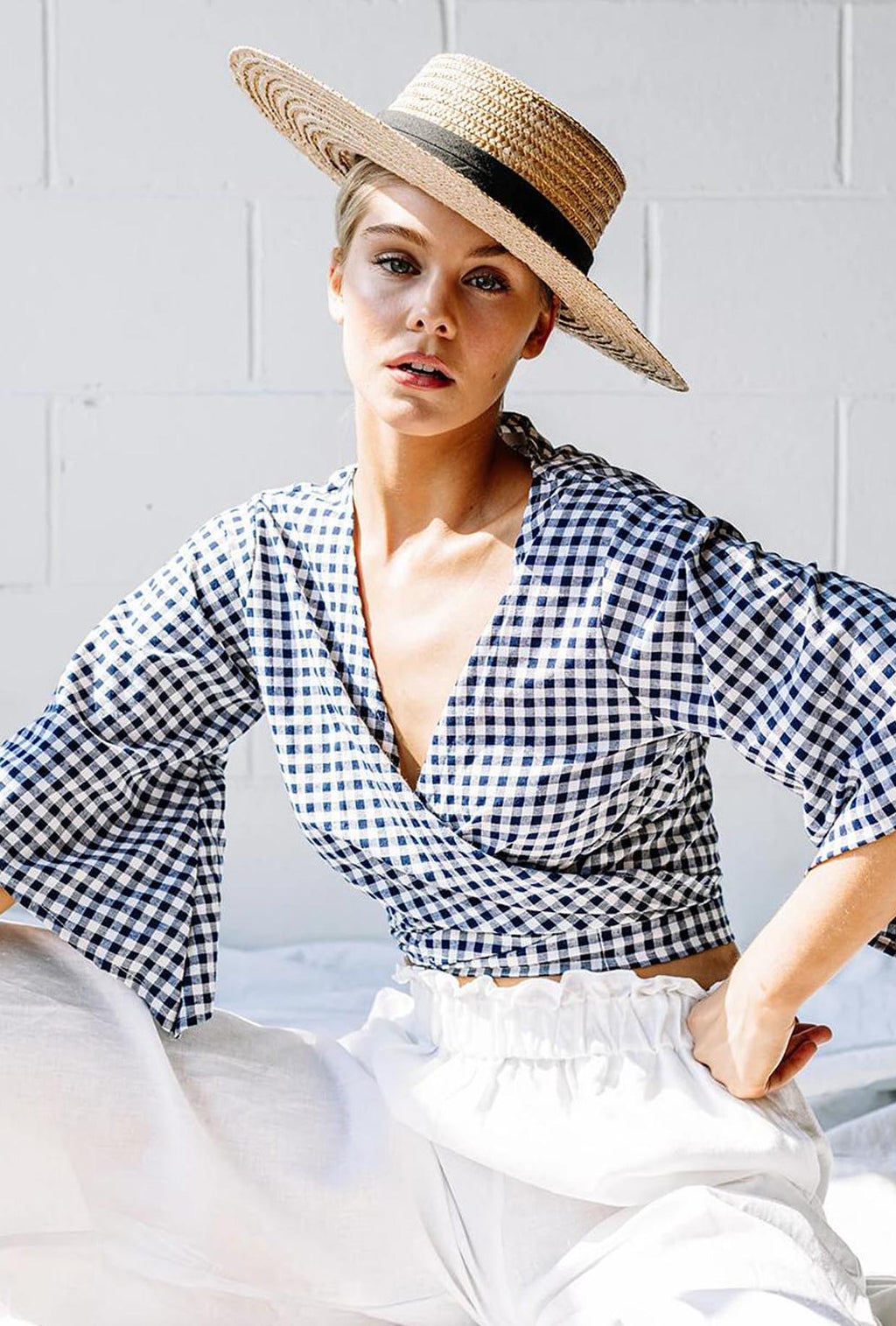 LJC Designs Mykonos Tie Top Gingham
