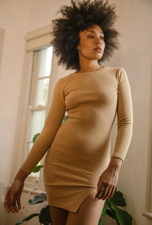Ribbed Knit Long Sleeve Slit Dress in Tan Summi Summi