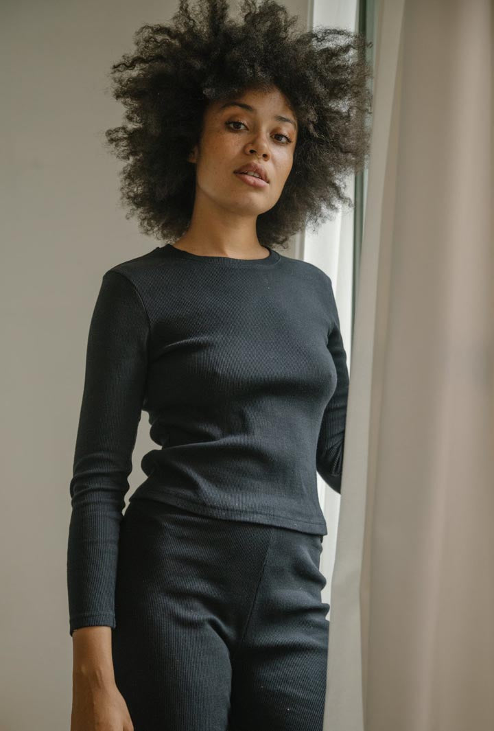 Ribbed Knit Long Sleeve Top in Black Summi Summi
