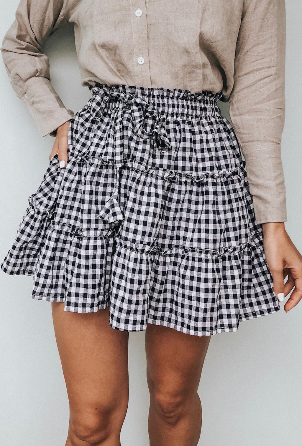 LJC Designs Zanzibar Skirt in Navy Gingham