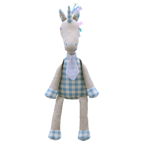 Linen Blue Unicorn Soft Toy