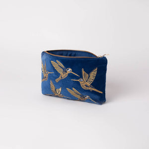 Cobalt Velvet Hummingbird Travel Pouch