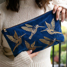 Load image into Gallery viewer, Cobalt Velvet Hummingbird Travel Pouch