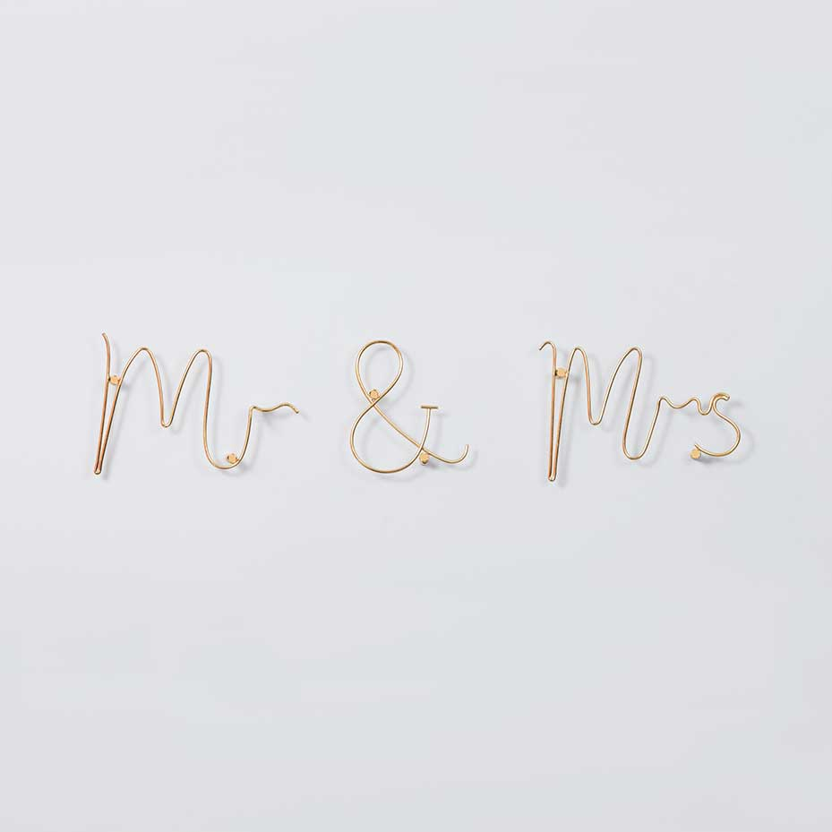 Wire Wall Art Mr and Mrs Gold