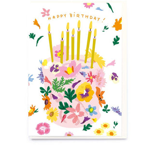 Happy Birthday Card Floral Birthday Cake