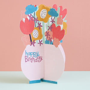 Happy Birthday -  3D Card Flowers