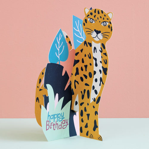 Happy Birthday -  3D Card Leopard