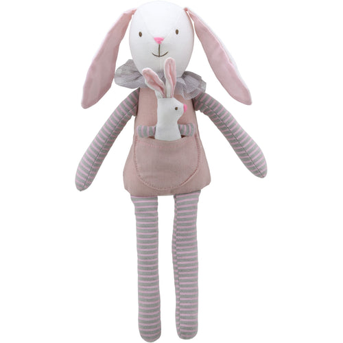 Linen Rabbit And Baby Bunny Soft Toy