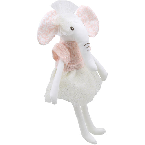 Linen Elephant Girl In Dress Soft Toy