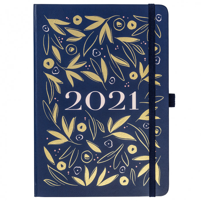 Diary 2021 A5 Navy and Gold