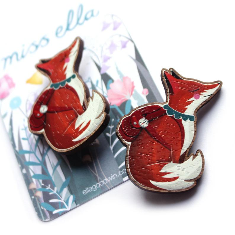 Wooden Fox Brooch