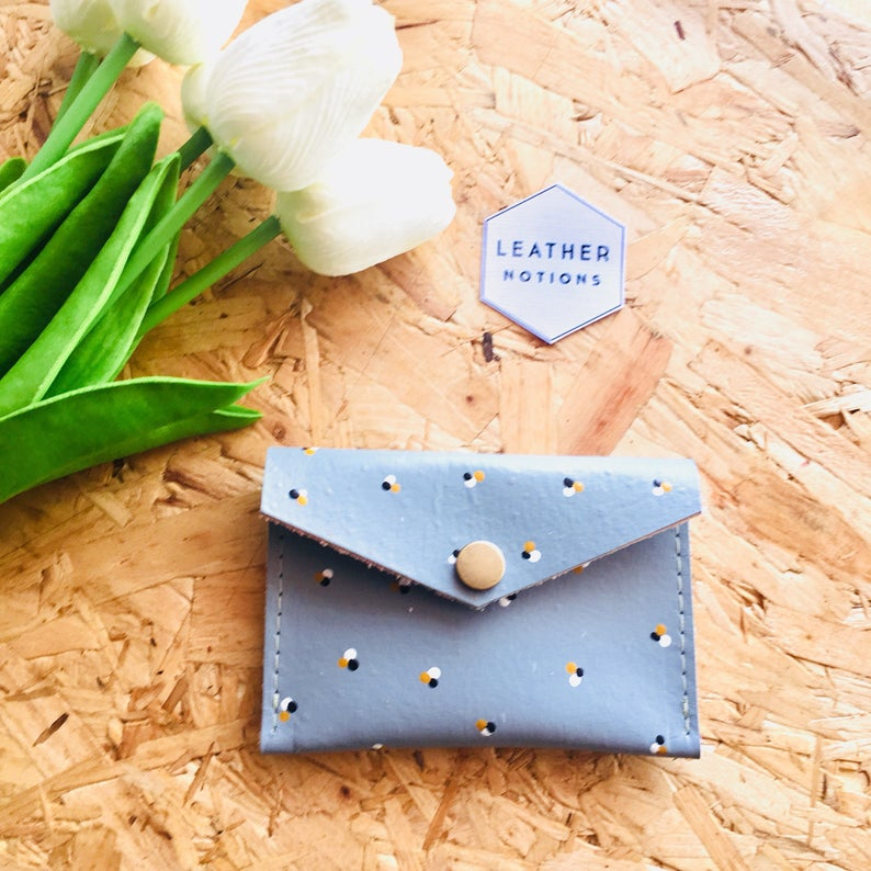 Leather Coin Purse Light Blue
