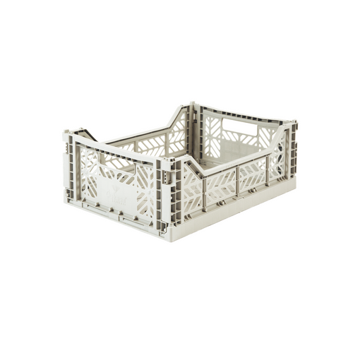 Medium Folding Crate Light Grey