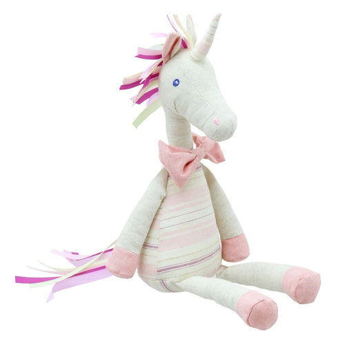 Linen Pink Unicorn Soft Toy