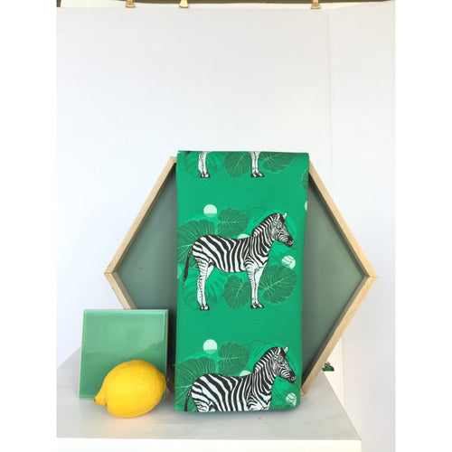 Tea Towel Zebra Green