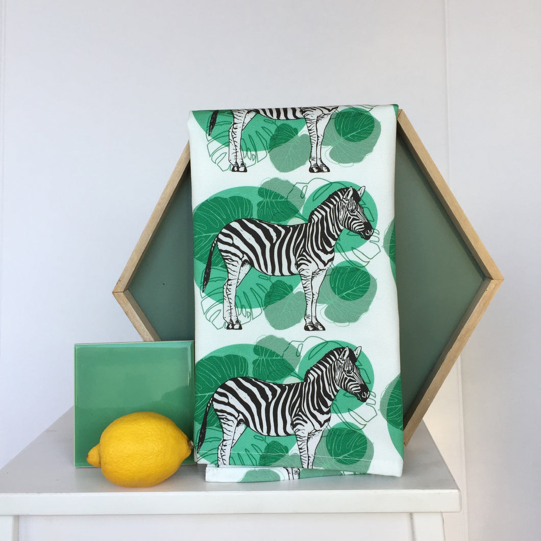 Tea Towel Zebra White