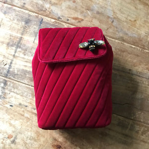 Quilted Velvet Backpack Berry