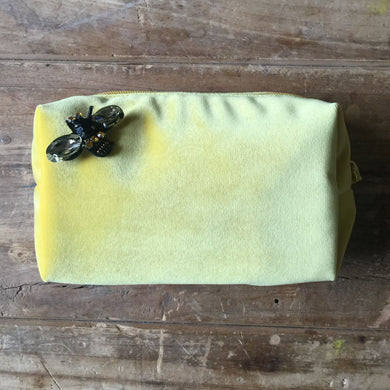 Velvet Make Up Bag Yellow