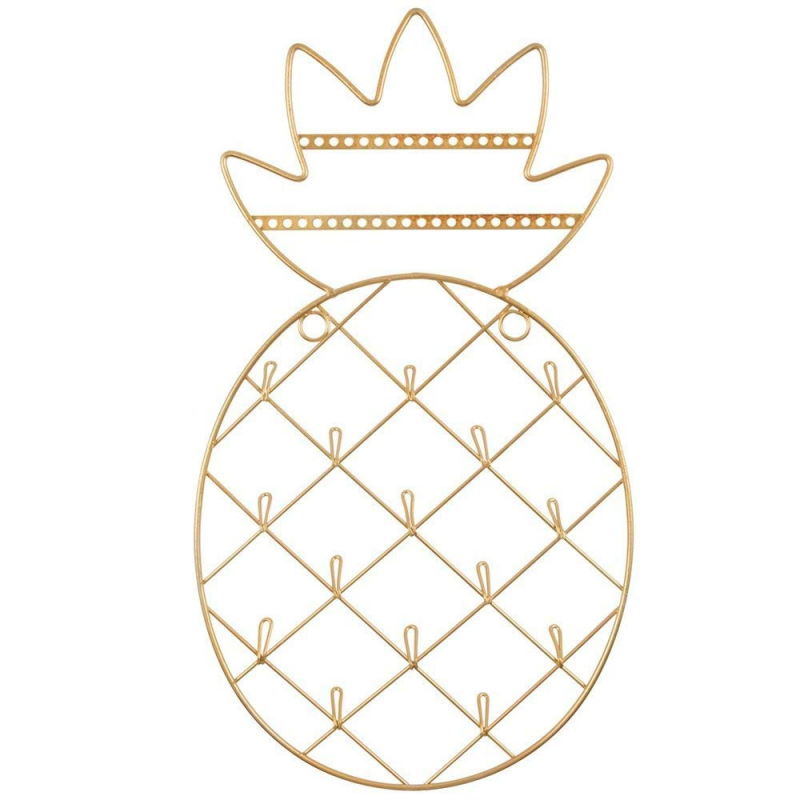 Gold coloured Pineapple Shaped Jewellery Holder