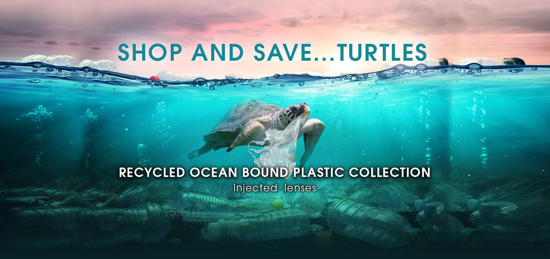 This is an image of a turtle swimming in the ocean with a plastic bag stuck in it's mouth and surround by plastic water bottles