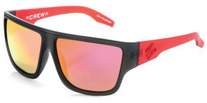 CREW Matt Grey/Red | Red Iridium Polarized Sunglasses - Carve Eyewear