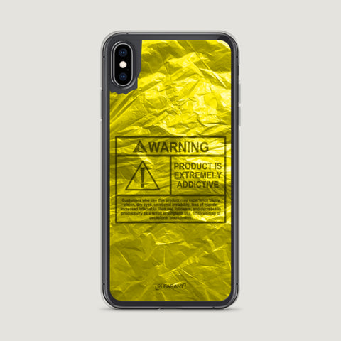 WARNING Product Is Extremely Addictive iPhone Case - Yellow - Pleasant Cases