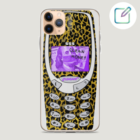 Leopard Customized Old School iPhone Case - Pleasant Cases - Customise this cute iPhone case to your liking!  For iPhone 7 iPhone XR iPhone 8 iPhone XS iPhone X iPhone 8 Plus iPhone XS Max iPhone 11 iPhone 11 Pro iPhone 11 Pro Max