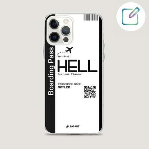 Customized Hell Boarding Pass iPhone Case - Pleasant Cases - Customise this cute iPhone case to your liking!  For iPhone 7 iPhone XR iPhone 8 iPhone XS iPhone X iPhone 8 Plus iPhone XS Max iPhone 11 iPhone 11 Pro iPhone 11 Pro Max