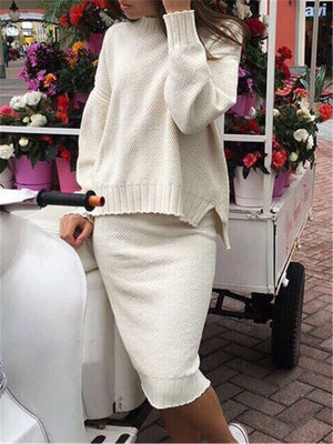 Casual Round Neck Solid Color Knit Skirt Suits