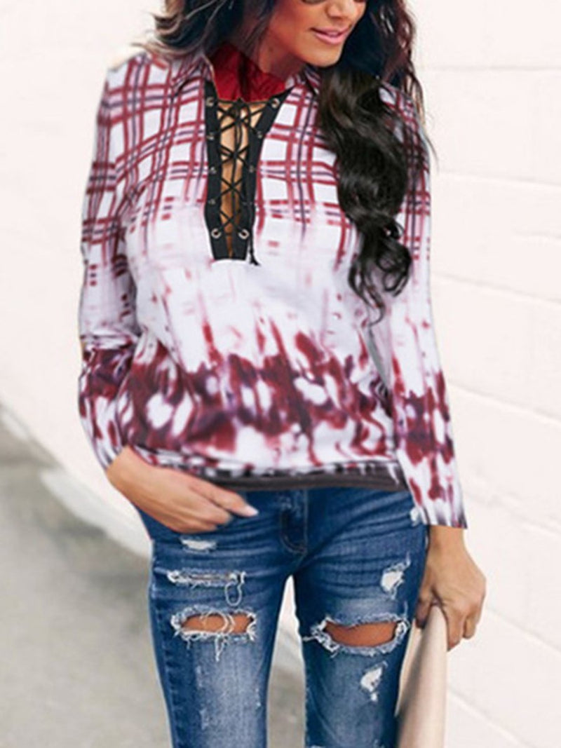 Fashion Lace Up Long Sleeve Casual Blouse
