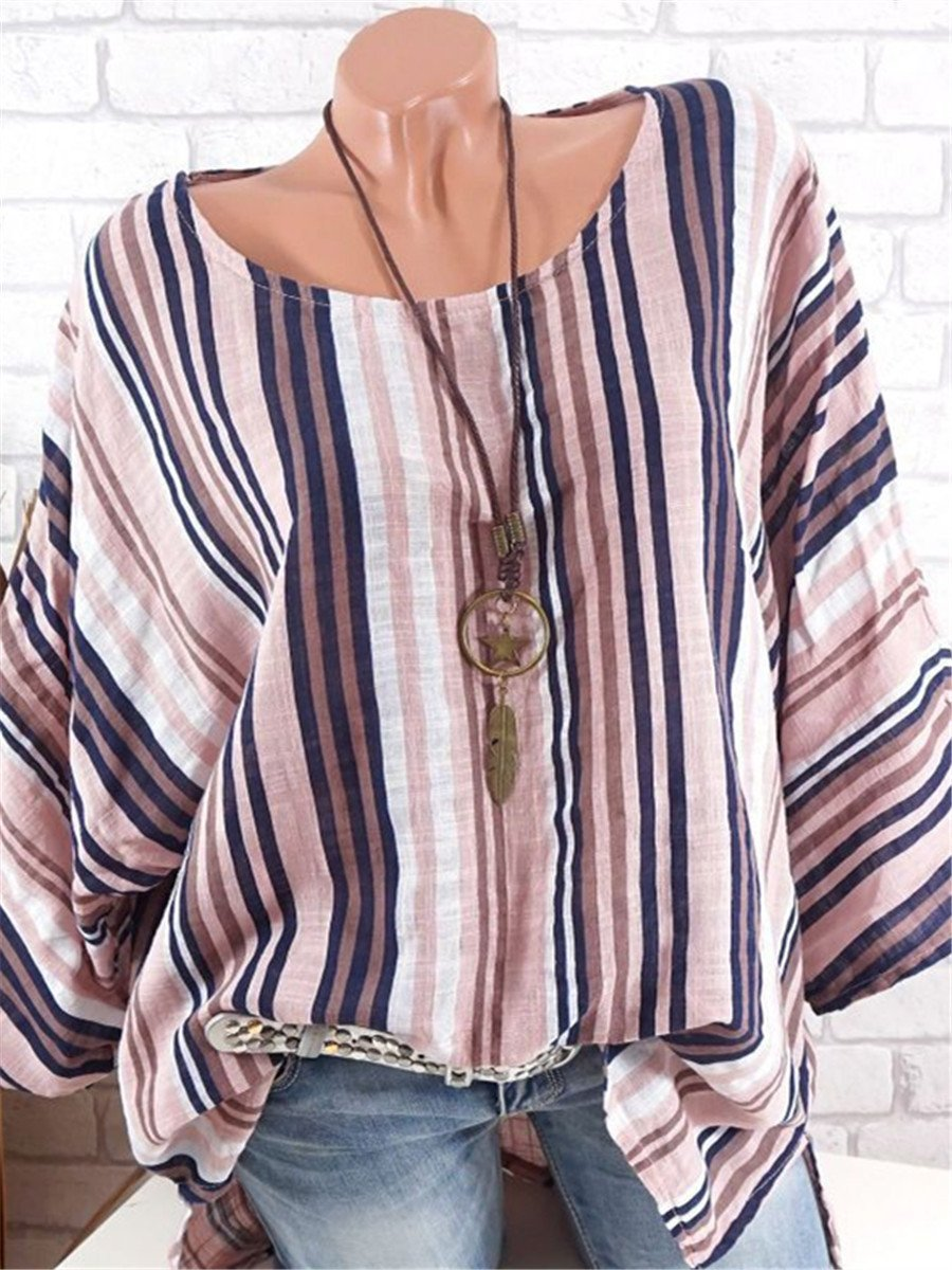 Casual Cotton Linen Stripe Print T Shirt